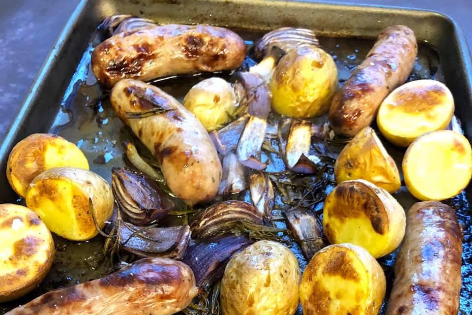 Sausage, Red Onion And New Potato Tray Bake